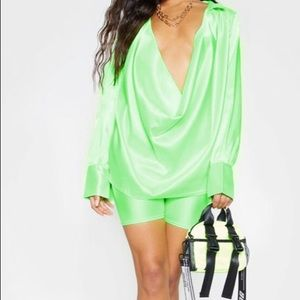 Neon green satin shirt from pretty little thing